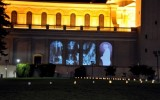 Ben Wood's 9/11 memorial projected onto the facade of St. Ignatius Church.